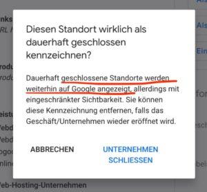 Unternehmen Google schließen